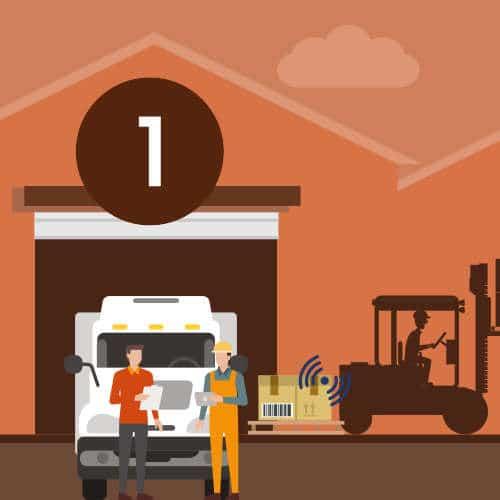 Réception de marchandise dans l'entrepôt logistique