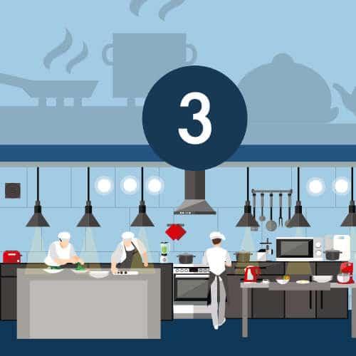 Fabrication des plats en cuisine centrale