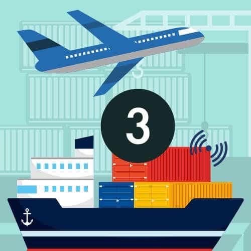 Livraison à l'export par avion, bateau et camion